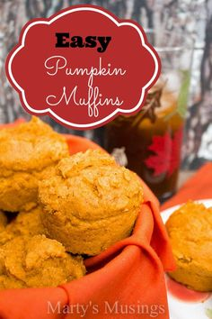 A must have recipe, these easy pumpkin muffins are made from a cake mix, canned pumpkin and spices. Perfect for school, parties and celebrating fall! Muffin Recipes, Baking Recipes, Dessert Recipes, Snack Recipes, Breakfast Recipes, Diet Breakfast, Ww Recipes, Dessert Ideas, Dinner Recipes