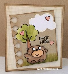 Bear Hugs card by Kylie Page - Paper Smooches - Clouds Dies, Summer Groves, Paper Die, Chubby Chums