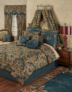Embrace the vibrant side of classic style with the beautiful Casanova Comforter Bedding. Comforter features vivid woven Jacobean florals on dark teal chenille. Teal Bedding Sets, Teal Comforter, Comforter Sets, King Quilt Bedding, Simple Bed, Bed Styling, Luxurious Bedrooms, Bed Spreads, Duvet Cover Sets