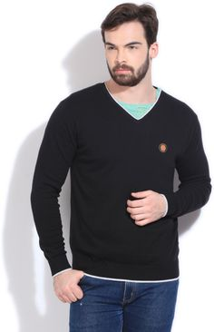 Integriti Solid V-neck Casual Men's Sweater Black  #winter #jackets #checkered #fashion #integritifashion #sweaters
