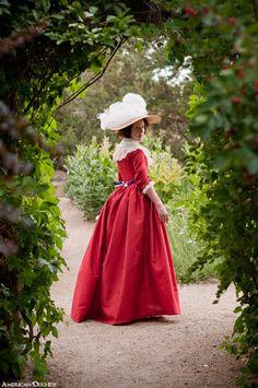 American Duchess: V195: Red Dress in The Garden