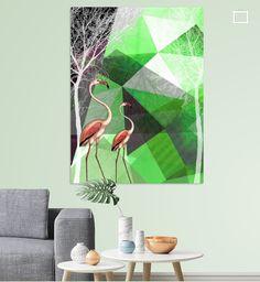 Neu in meiner Galerie bei OhMyPrints: FLAMINGOS P21 v2 © by #PiaSchneider #kunst #art #flamingos #modernekunst #geometrie #triangles #ohmyprints #grün #green