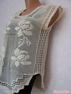 филе Filet Crochet, Crochet Motif, Hand Crochet, Crochet Patterns, Crochet Woman, Love Crochet, Crochet Top, Crochet Blouse, Knit Dress