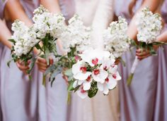 white stock & orchid wedding flowers