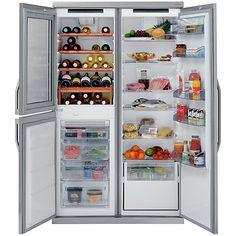 Buy John Lewis Side-by-Side JLDMFF001 Slim Depth Wine Cabinet Fridge Freezer, Stainless Steel Online at johnlewis.com