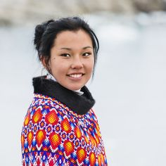 Young smiling Greenlandic woman in national costume