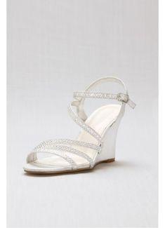 48f68cd843 Crystal Detailed Strappy Low Wedges EMMA-5 Bridesmaids Heels, Metallic  Wedges, Wedding Dress
