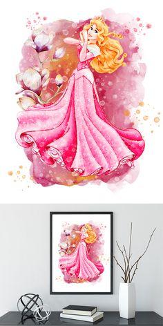 Sleeping Beauty art Disney Watercolor Sleeping Beauty Print, Disney Princess wall Art, Printable Disney Princess Poster instant download Arte Disney, Disney Art, Sleeping Beauty Art, Princess Wall Art, Watercolor Disney, Watercolor Art, Punk Disney Princesses, Pinturas Disney, Princess Coloring