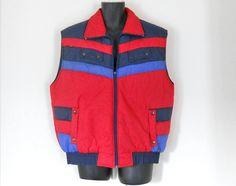 Puffy Vest Ski Vest Winter Vest Retro Ski Wear Mens Red Vest Puff ...