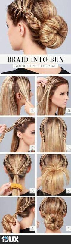 Braid into Bun – Hairstyle – Haircuts – Step By Step Hair Tutorial