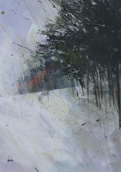 Abstract landscape painting by Paul Bailey: Winter hillside trees