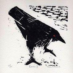 Awesome Woodblock Raven by Tim Wayne Crow Art, Broken Wings, Crows Ravens, The Uncanny, Black Wings, Rook, Spirit Animal, Art Techniques, Pattern Art
