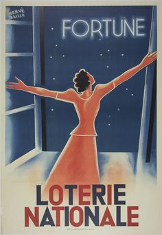 Loterie Nationale Fortune - Hervè Baille France - 1933 32 x 47 in (81 x 119 cm) $1100 #art #lottery #interiordesign