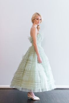 NEW LISTING 1950 Mint Ruffle Tulle TeaLength Dress by ShopGossamer, $325.00