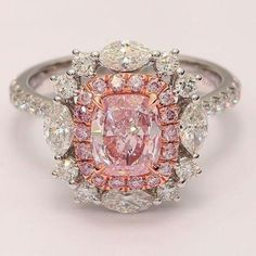 Gold Diamond Wedding Ring with Micro Pave Setting VS Clarity - Fine Jewelry Ideas - Gold Diamond Wedding Ring with Micro Pave Setting VS Clarity – Fine Jewelry Ideas Pink Cushion Cut Double Halo Russian Lab Diamond Ring Pink Diamond Ring, Pink Ring, Diamond Wedding Rings, Pink Diamonds, Colored Diamond Rings, Diamond Art, Diamond Shapes, Colored Diamonds, Bling Bling
