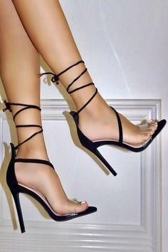 Sexy Black Warp Around Lace Up Single Sole High Heels