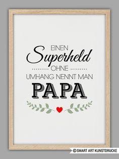 """""""SUPERHELD PAPA"""" Kunstdruck, Vatertag Geschenk von Smart-Art Kunstdrucke auf DaWanda.com"""
