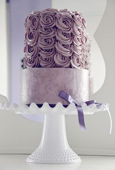 purple frosted cake