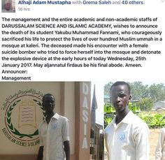 ACKCITY NEWS: Student Sacrifices Life To Protect Other Students From Suicide Bomber In Borno (Pictured)