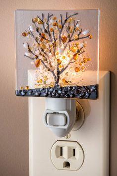 Fused Glass Tree Night Light - Click Image to Close