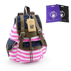 DAKIA Unisex Fashionable Canvas School Bag Super Cute Stripe School College Laptop Bag Backpack for Teens Girls Boys Students (PINK) DAKIA http://www.amazon.com/dp/B00KYN8CTY/ref=cm_sw_r_pi_dp_1ftSvb0SWK1X7