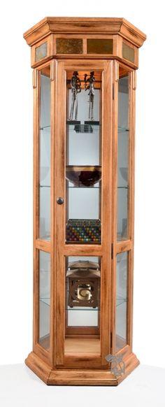 Oak Sedona Three Sided Curio Display Cabinet with Slate Accents in Rustic Medium Oak Finish
