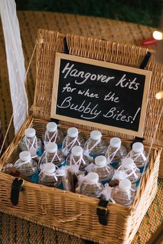 hangover kit - Sami Tipi Wedding - Image by Kathryn Edwards (Bottle Centerpieces Beach)