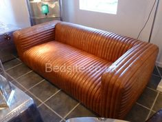 Coach House Ribbed Brown Leather Sofa £1,898.10