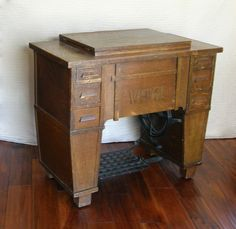 Antique White Family Rotary Sewing Machine in Mission / Craftsman Style Cabinet, 1912-1913