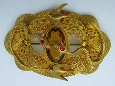 Ornate Antique 1900s Gilt Brass Jeweled Filigree Sash Pin Butterfly Birds Snake | eBay