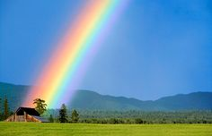Rainbow over a barn in Whitefish, Montana