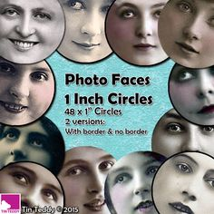 Photo Faces Printable Digital Collage Sheet  - 1 Inch Face Circles x 48  - Perfect for Mixed Media, Paper crafts, Jewelry, Inchie Circles by TinTeddy on Etsy