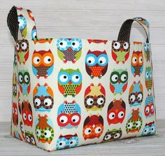 Owls again! Fabric Basket Organizer Storage Bin - Owls by thespottedbarn @ etsy Owl Fabric, Fabric Bunting, Bunting Banner, Owl Basket, Sewing Projects, Craft Projects, Owl Bags, Basket Organization, Sewing Studio