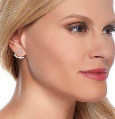 1.34CT Round Cut Russian Lab Diamond Sterling Silver Stud Cuff Earrings Birthday Graduation Wedding Anniversary