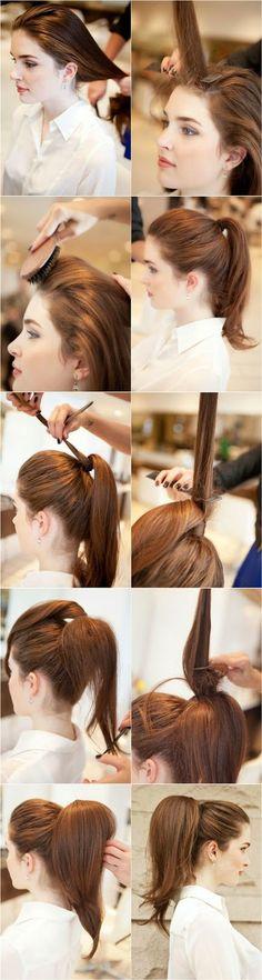 1. Bürsten Sie Ihre Deckhaare mit einer Rundbürste.  2. Toupieren Sie die oben gestellte Haarsträhne mit Toupierkamm.  3. Legen Sie di...