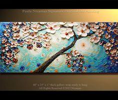 Pintura abstracta original por Nizamas. Aceite extra gruesa textura impasto pintura, varias capas espátula pintura. Envuelto en las floraciones de