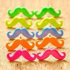 Sweet Candy Color Moustache Shape Alloy Women's Earrings