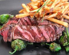 Organic Herb-Rubbed Pepper Steak with Duck-Fat Fries and Fried Padron Peppers