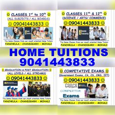 Best HOME TUITION in All Over Tricity 9041443833 Chandigarh Panchkula Mohali Kharar Zirakpur Chandimandir and Nearby Contact for Demo Classes 9041443833 Home Tutors, Graduation Post, Science Art, Chandigarh, Advertising