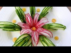 Handmade Cucumber Flower | Fruit & Vegetable Carving & Cutting Garnish - YouTube Easy Food Art, Creative Food Art, Vegetable Decoration, Food Decoration, Cucumber Flower, Free Kids Coloring Pages, Charcuterie Recipes, Bread Art, Fruit And Vegetable Carving
