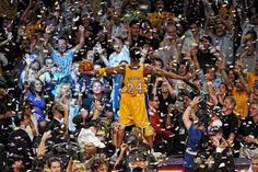 Kobe Bryant of the Los Angeles Lakers celebrates after Game Seven of the 2010 NBA Finals on June 17 2010 at Staples Center in Los Angeles California. Dear Basketball, Bryant Basketball, Basketball Stuff, Basketball Uniforms, Lakers Kobe Bryant, Los Angeles Lakers, Dodgers, 2010 Nba Finals, Soccer