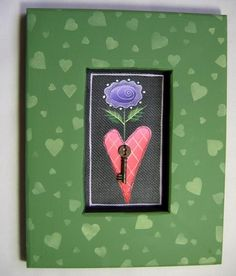 Tole Painted Purple Flower Heart and a Key by barbsheartstrokes,