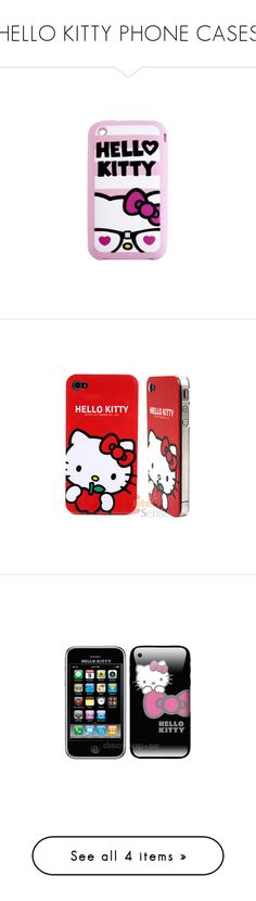 """""""HELLO KITTY PHONE CASES"""" by princesslove-12 ❤ liked on Polyvore featuring phones, electronics, hello kitty, nerd, accessories, tech accessories, phone cases and cell phones"""