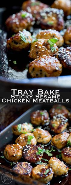 Sweet, sticky and delicious. These tray baked sticky sesame chicken meatballs are packed with flavour and bake easily in the oven for a perfect week night meal. From https://www.sprinklesandsprouts.com