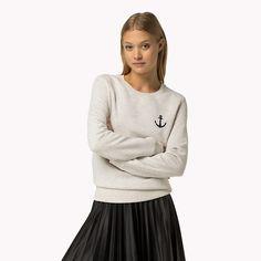 Tommy Hilfiger Cotton Blend Signature Sweatshirt - snow white htr (White) - Tommy Hilfiger Sweatshirts - main image