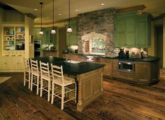 Kitchen , Get A Superb Look by Building Extraordinary Rustic Italian Kitchens in Small Spaces : Rustic Italian Kitchen With Green Cabinets For Fresh Look Cheap Countertops, Butcher Block Countertops, Bathroom Countertops, Concrete Countertops, Butcher Blocks, Rustic Italian, Italian Home, Home Interior Design, Interior Decorating