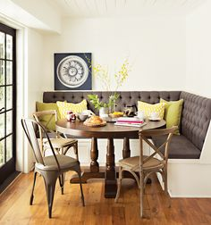 The Arlo round dining table creates the perfect breakfast nook. #diningroom #LivingSpaces