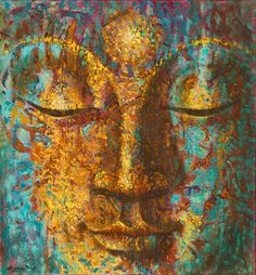 Get rid of emotional obstructions and allow serenity to flow in your life with this masterfully painted Golden Accents Buddha Oil Painting Transform your home into a peaceful fortress of good fortune and well-being. Buddha Artwork, Buddha Painting, Buddha Face, Art Asiatique, Zen Art, Buddhist Art, Indian Paintings, Art Plastique, Painting Inspiration