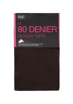 Clothing at Tesco | F&F 2 Pack of Opaque 80 Denier Tights > hosiery > Women's Hosiery > Lingerie & Underwear