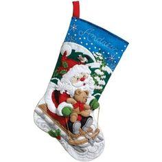 Bucilla 86279 Santa's Sled Stocking Felt Applique Kit, 18-Inch